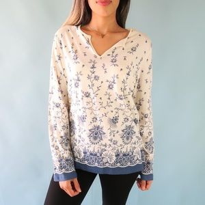 J. Crew Long Sleeve Floral Top Women's Size L